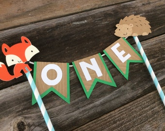 Woodland Party Cake Topper - Fox Party, Cake Topper, First Birthday,  Photo Prop