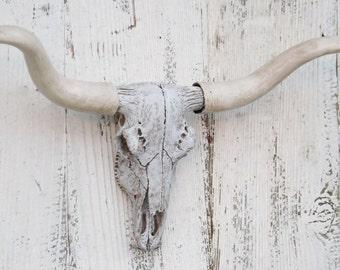 White Washed Longhorn Cow Skull~ Longhorn~SouthWestern~Cow Skull~Faux Skull~Longhorn