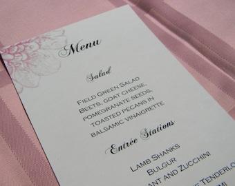 Wedding Dinner Menu with Pink Hydrangea