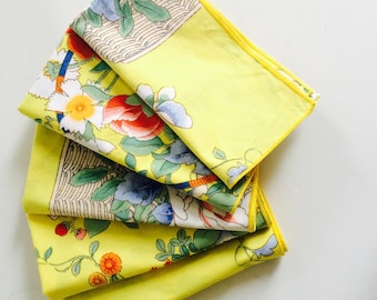 Vintage Cotton Napkins | Yellow Floral | Set of 5