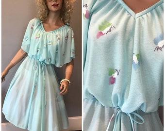 Vintage 70's flutter sleeve dress-Med