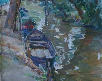 Boats near the river bank,river landscape,antique oil painting original,Soviet artist,Ukrainian art,Titenko P. 50-40 0.4