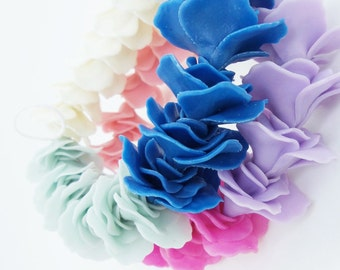 Miniature Polymer Clay Roses Handcrafted Flowers Beads, 24 pcs.