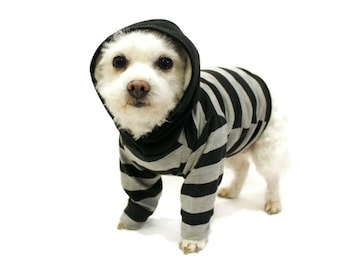 Black and Gray Striped Dog Hoodie-Dog Clothes-Dog Hoodies-Dog Sweater-Dog Clothing-Dog Shirt-Dog Shirts-Shirts for Dogs-Dog Apparel