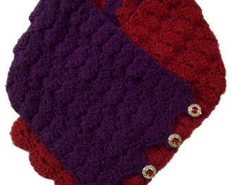 Royal Shell Stitch Right Angle Button-Up Scarf - Crochet Pattern (PDF)