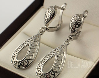Pretty 925 Sterling Silver Plated Filigree Dangle Drop Earrings
