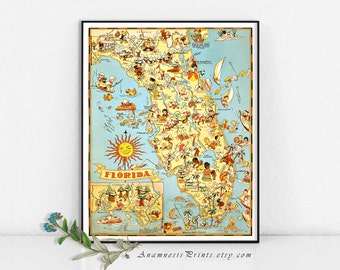 FLORIDA MAP PRINT - map art print to frame - perfect housewarming or wedding gift - three sizes available - fun vintage home decor