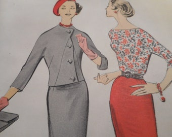 Vintage 1950's Advance 8446 Three-Piece Suit Sewing Pattern Size 14 Bust 34