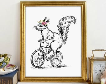 Vintage Squirrel, Bicycle Print, Nursery Print, Girls Bedroom, Wall Art, Printable Art, Wall Decor, Instant Download, Digital Print