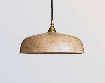 Wood lampshade, wooden pendant light fitting, Hygge lighting, natural light,  Eco sustainable light, industrial fitting, handmade in UK