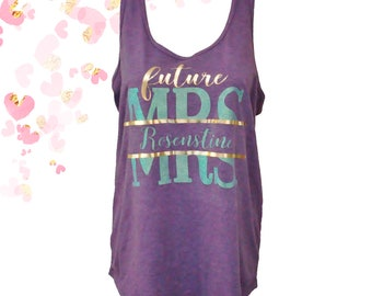 Future Mrs Foil and Glitter Tank Top | Personalized Bride To Be Tank | Bachelorette Party Tank | Purple Future Mrs Racerback Tank XS - 2XL