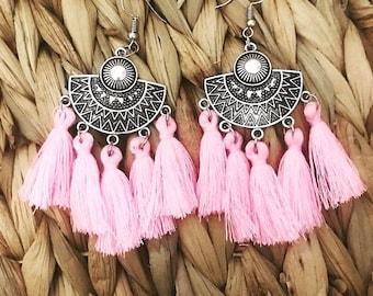 Ethnic earrings pink AGATHE 01