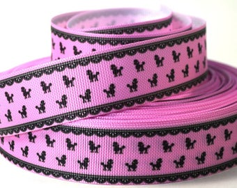 "1"" Pink Poodle Dog Collar Ribbon - Printed Grosgrain Ribbon"
