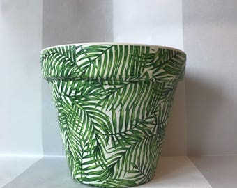 Green Palm Leaf Terracotta Plant Pot Indoor Outdoor Large 21cm