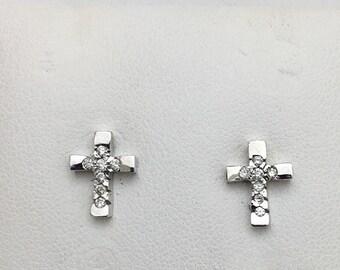 Diamond Cross Earrings in White Gold - 14k