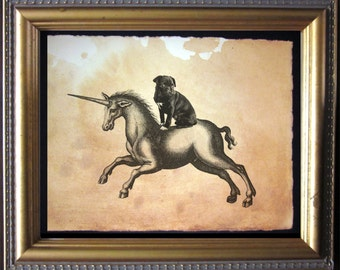 Black Pug Riding Unicorn- Vintage Collage Art Print on Tea Stained Paper -  dog art - dog gifts - mother's day gift