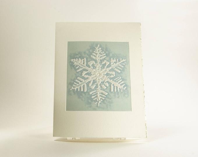 Snowflake card Letterpress Christmas card Modern holiday card Blue. Mont Blanc snowflake. Single card. Season's Greetings or Blank Inside.