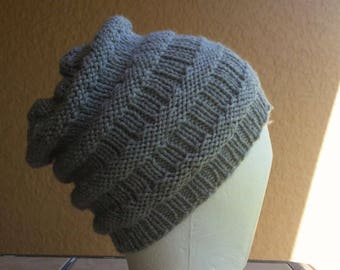 New Orleans Slouch Hat beanie stocking cap or beret gray, grey hand knit with detailed stitching