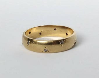 14k Gold Classic Estate Band with Diamond Accents