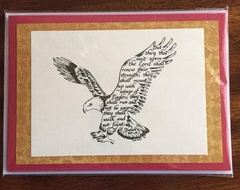 Eagle Print Handmade Greeting Card, calligraphy, Isaiah 40:31