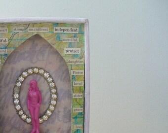 Feminist art, Gift for women, Assemblage art, Shadow box art, Mixed media art, 3d art, Found object art, Goddess art, Inspirational art