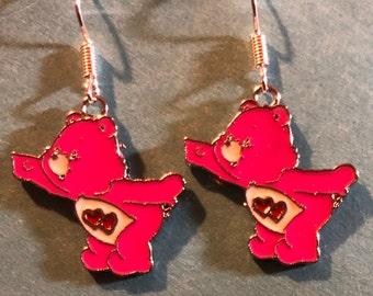 Pink Care Bear Earrings   J45