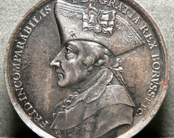 Magnificent Huge Original 1786 Prussian Silver Medal on Death of FREDERICK THE GREAT! Historic Gem!
