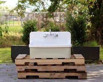 Vintage Style High Back Farm Sink Apron Kitchen Utility Sink Package  Vitreous China Kohler Gilford U2013