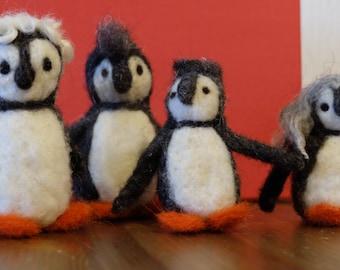 Penguin family, needle felted