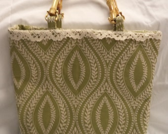 Sage and Cream Purse with Lace Trim