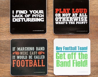 """Funny Marching Band Stickers - Set of Four - 3"""" x 3"""" Square"""