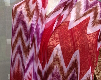 Bright Red, Pink, and Purple Ikat Style Modern Light Translucent Ladies Polyester Scarf