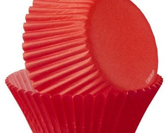 100 Ct Mini 1 1/4 Inch Festive Red Mini Paper Baking Cups - Cupcake Liners - Mini Cupcake Cups - Great For Homemade Candies and Treats!
