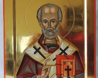 Saint Nicholas-hand painted icon.