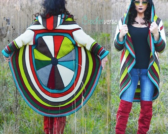 Splendor Circle Sweater Coat Crochet Pattern - Fairy Hooded Boho!