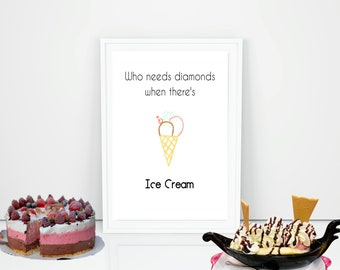 Ice Cream, Diamonds, Marriage Quote, Kitchen White and Rainbow Wall Art, Happiness, Digital Printable, 8 x 10 Instant Download