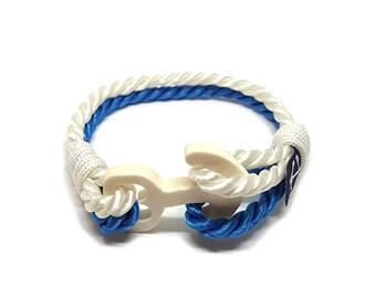 Aqua Blue and White Nautical Bracelet,Rope Jewelry, Navy Bracelet , Nautical Bracelet, Beach Bracelet, Unisex Bracelet, For Her, For Him