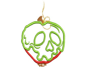 Poisoned Apple embroidery applique design 052 instant download
