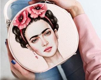 Leather handbag FRIDA with painting