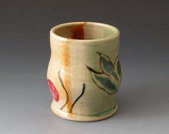 Tea Bowl with Celadon and Shino colors, Handmade Ceramic Tea Cup, Drinkware, Tea Cups