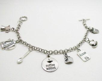 Coffee Charm Bracelet - Coffee Bracelet - Coffee Lover Charm Bracelet - Delicate Bracelet - Silver Jewelry - Gift Under 20 - Affordable Gift