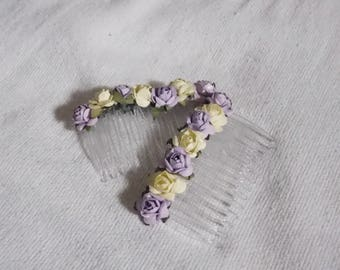 Flower hair combs - light purple and yellow Roses hair combs hair accessories