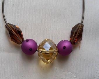 assorted beads, steel cable necklace Crystal 10