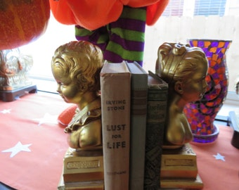 GOLD Boy and Girl BOOKENDS