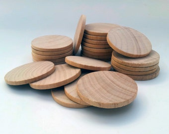 "Qty of 25 / 1.5"" Wooden Circles Round Discs - 1/8"" thick - Wedding Favors DIY Unfinished Ready to Paint"