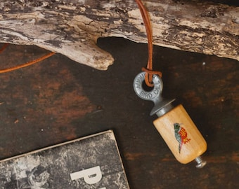 Hand Painted Bird Call Necklace - Natural Wood