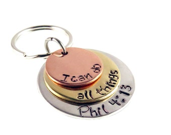 Hand Stamped Scripture Religious Key Ring | I Can Do All Things Phil 4:13 | Bible Verse Christian Hand Stamped Key Ring | Gift for Everyone