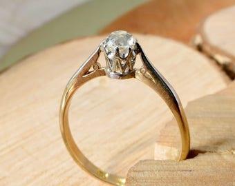 Antique 1/4 Carat 'old mine cut' diamond solitaire 18k yellow gold & platinum ring.