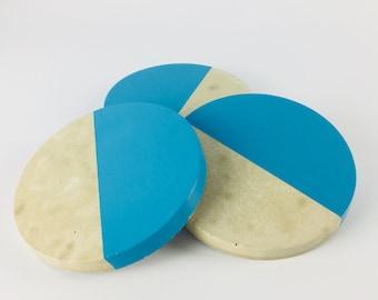 Blue Concrete Coasters. Set of 3. Homewares gift.