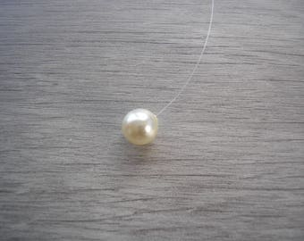 Pearl Necklace,Floating Ivory Cream Pearl Choker Necklace,made with Swarovski Pearl,Simple Illusion Jewelry Silver Gold Rose Gold, 41SWGSGRG